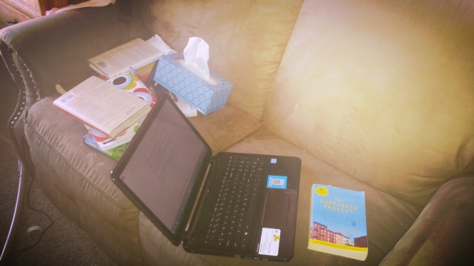 This is my TEN MINUTE OF HEAVEN...a computer, a pile of soul-stirring books, and a Kleenex box, just in case.